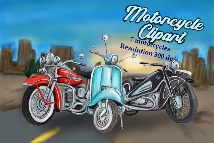 Motorcycle clipart, motorbike clipart, bike clipart, retro