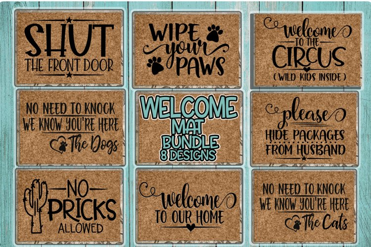 Welcome Mat Bundle - 8 Designs Incl. - SVG DXG PNG EPS example image 1
