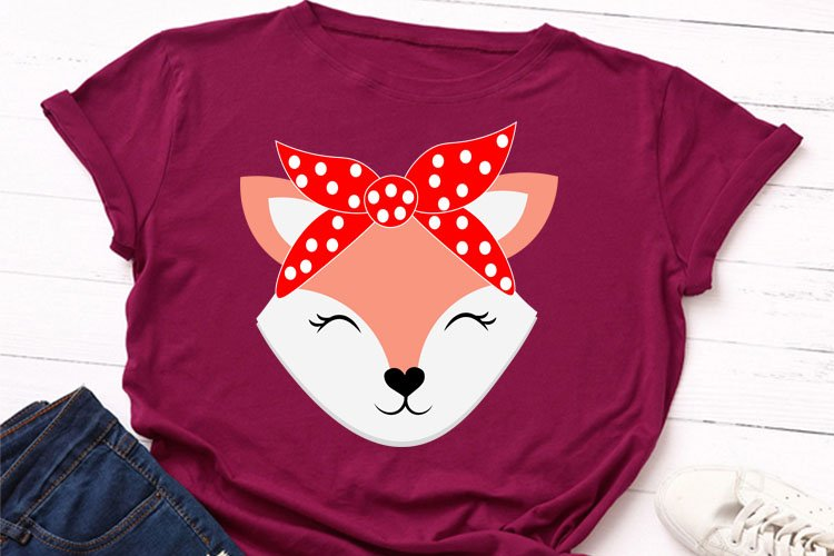 Cute fox animal face with bandana svg file, example image 1