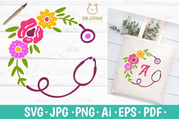Floral Stethoscope SVG, Nurse Floral Monogram SVG example image 1