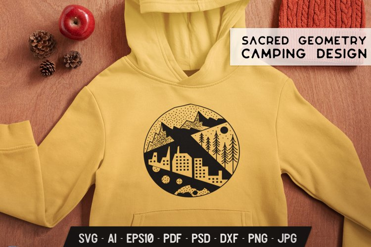 Sacred Geometry SVG Camping Design with Trees, Urban Element example image 1