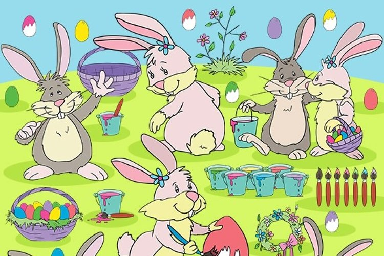 Easter Bunnies clipart set