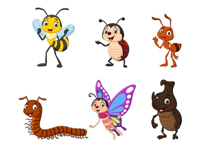 Set of Six Cartoon Insect Character example image 1