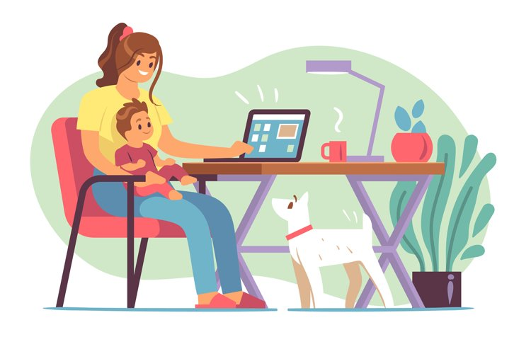 Mother freelancer. Young mother raising child and working ho example image 1