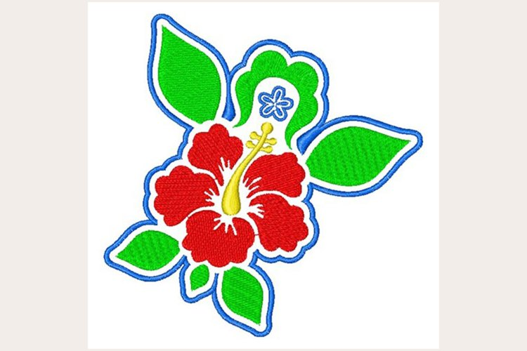 Tropical Hibiscus - Machine Embroidery Design example image 1