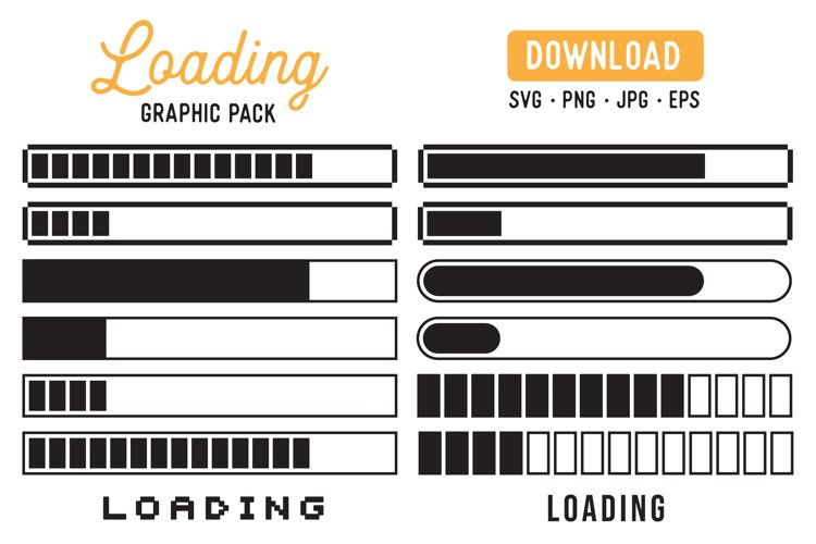 Loading Bars Vector Cutfile Clipart Pack - Loading Graphic example image 1