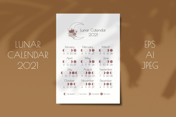 Lunar Calendar 2021, Printable Moon Phases Calendar example image 1