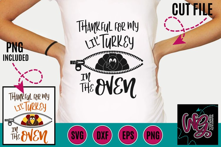 Pregnancy Thankful For My Lil Turkey SVG DXF PNG EPS