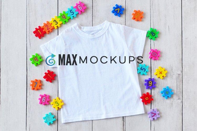 Kids t-shirt Mockup, back to school, abc flatlay