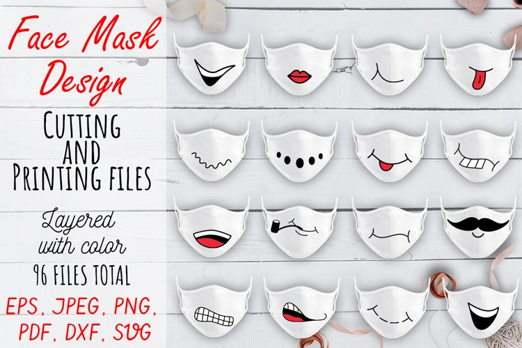 Face Mask Designs SVG. 16 Cartoon Smilling Designs Cute file