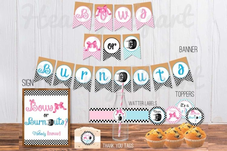 Bows or burnouts, gender reveal printable party example image 1
