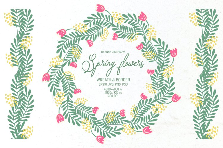 Spring Flowers Wreath and Border example