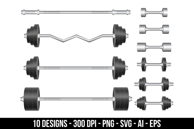 Barbell and dumbbell clipart set.