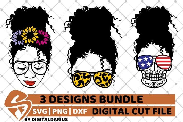 Messy Bun Designs Bundle svg, American Flag, Sunflower svg example image 1