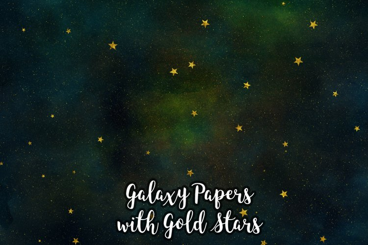 Galaxy Backgrounds with Gold Stars, Galaxy Digital Papers