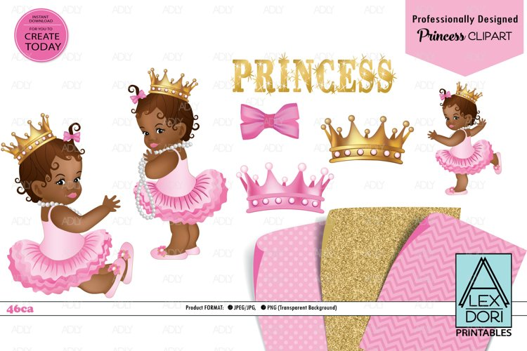 African American Baby girl Pink and Gold, Gold Crown, PNG example image 1