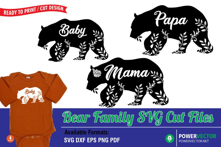 Bear Family SVG Print, Cut Files example image 1