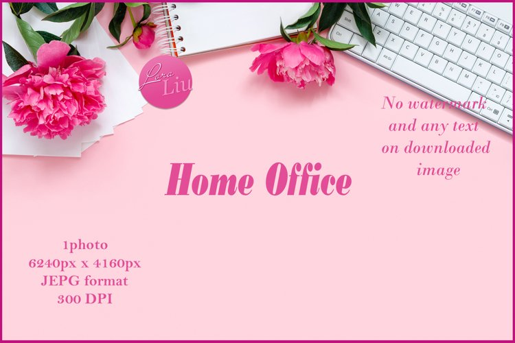 Laptop with glasses headphones and bouquet of peonies example image 1