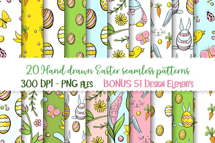 Hand drawn Easter seamless patterns png and clip art set example image 1
