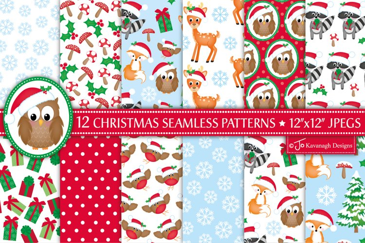 Christmas digital papers, Christmas seamless patterns -P32 example image 1