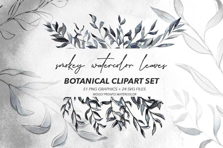 Smokey Watercolor Botanical Leaves - PNG and SVG Artwork