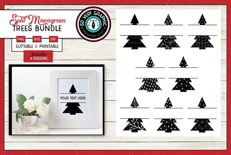 Split Monogram Pine Trees | 8 Cut Files | SVG | Print | PNG