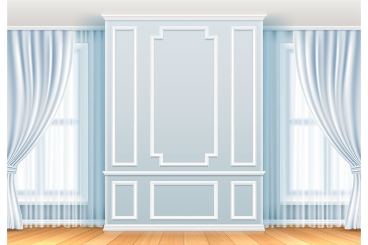 Classic interior. White wall with moulding frames and window example image 1