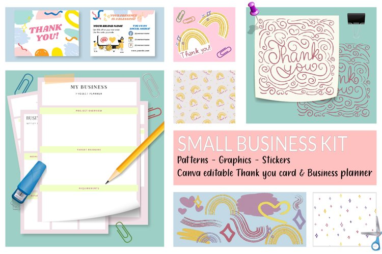 Business kit - Thank you card, Patterns, Planner, Stickers