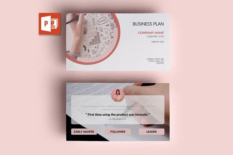 PPT Template | Business Plan - Pink and Marble Round example image 1