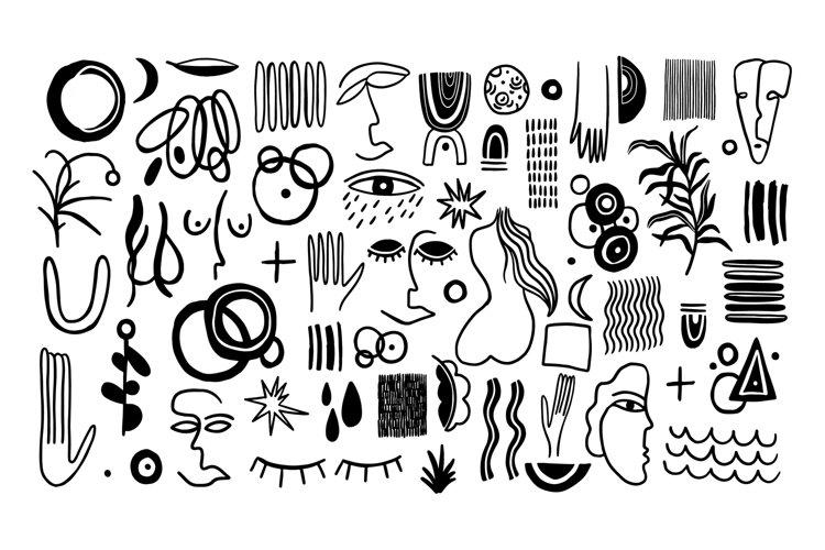 Set naive doodle abstract collection example image 1