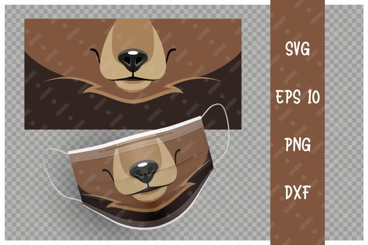Cute Bear animal mouth for protective face mask. example image 1