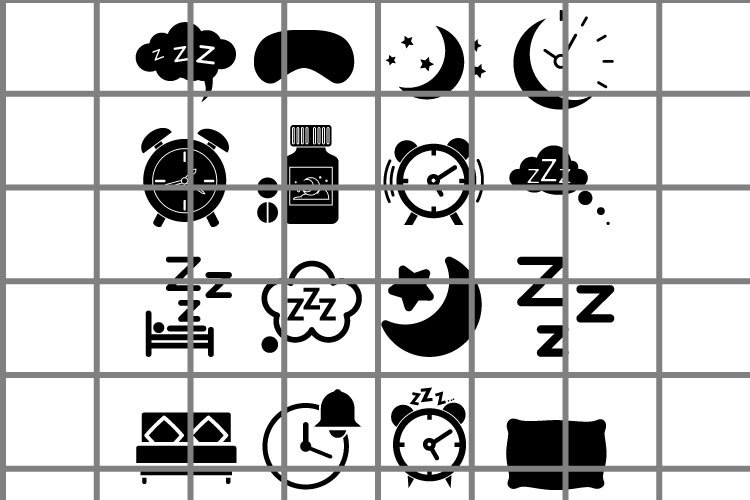 Sleep or ZZZ black icons vector set. Moon illustration. example image 1