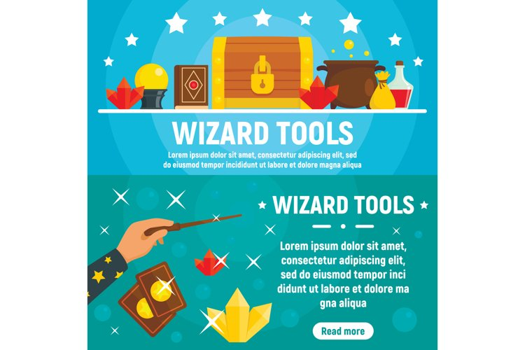 Wizard tools banner set, flat style example image 1