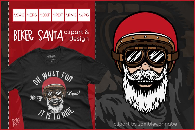 Biker Santa for Crafters, Oh What Fun It Is To Ride SVG example image 1