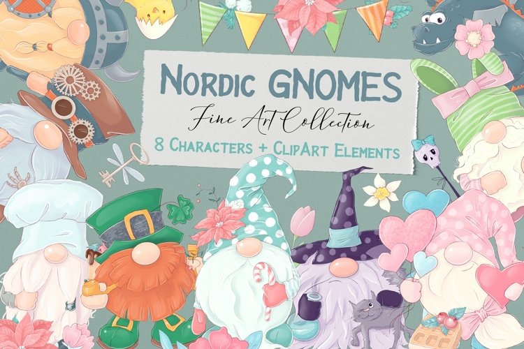 Nordic Gnomes 8 characters and clipart elements example image 1
