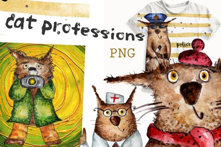 Watercolor clip art of the cat profession