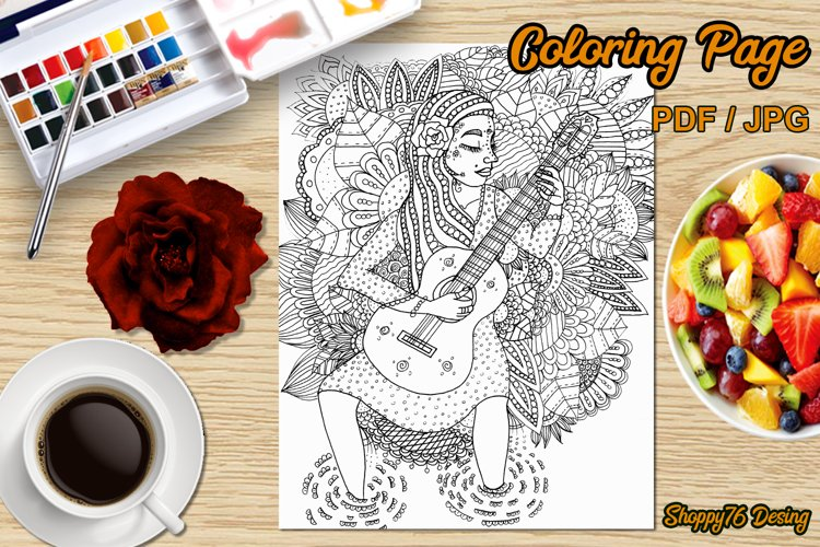 My inner music - Printable coloring page - Digital Stamp example image 1