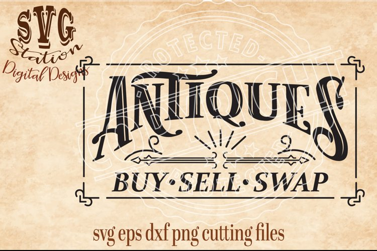 Vintage Antiques Buy Sell Swap SVG DXF PNG EPS Cutting File example image 1