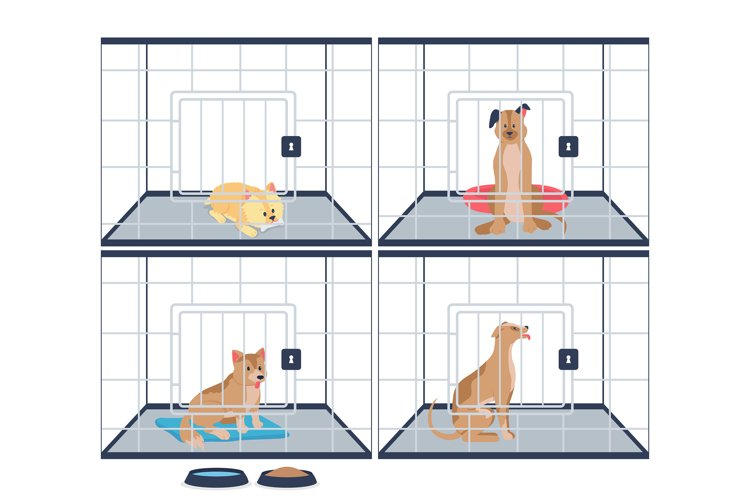 Homeless dogs in shelter cages flat color vector characters