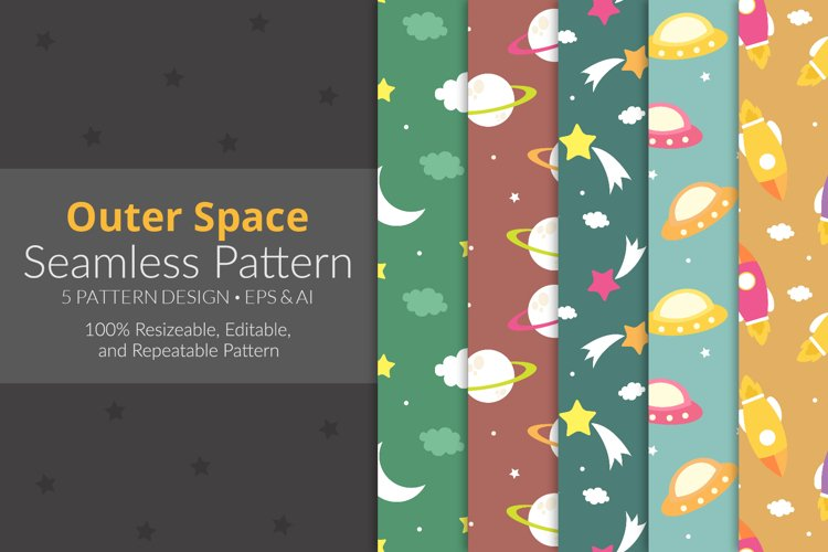 Outer Space Seamless Pattern Pack example image 1