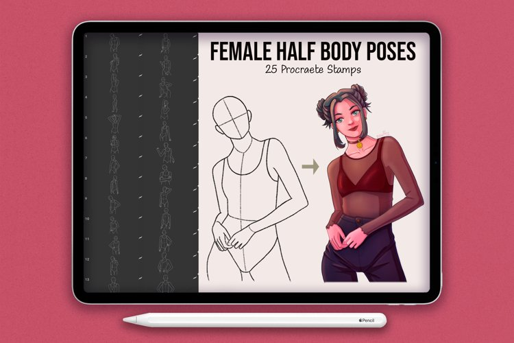 25 Realistic Half Body Poses Stamps for Procreate example image 1