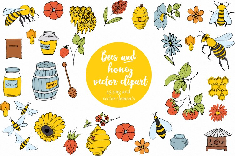 Vector Bees and Honey! example image 1