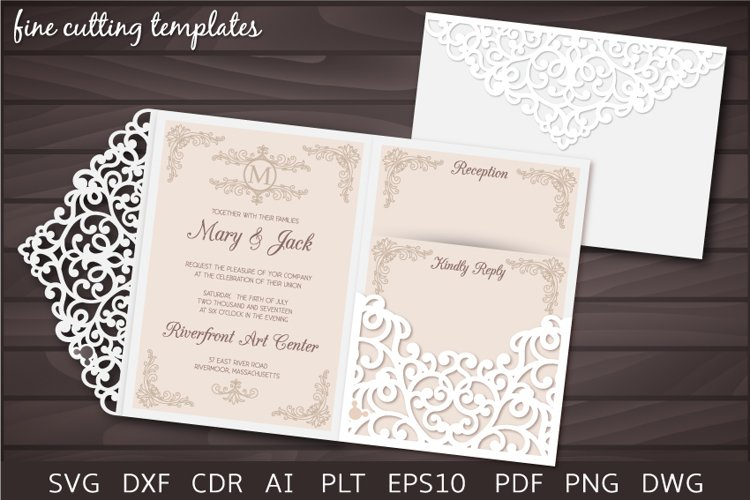 Wedding 5x7 Tri Fold pocket envelope template svg, laser cut example image 1