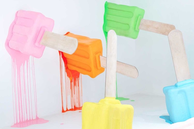 Colorful melting ice cream dummies, bright popsicle