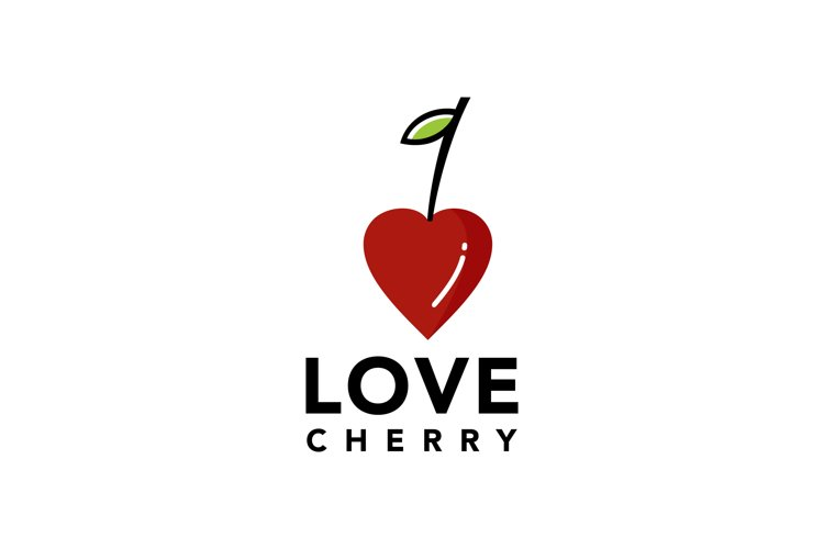Illustration of fresh cherry fruit shaped like a heart sign example image 1
