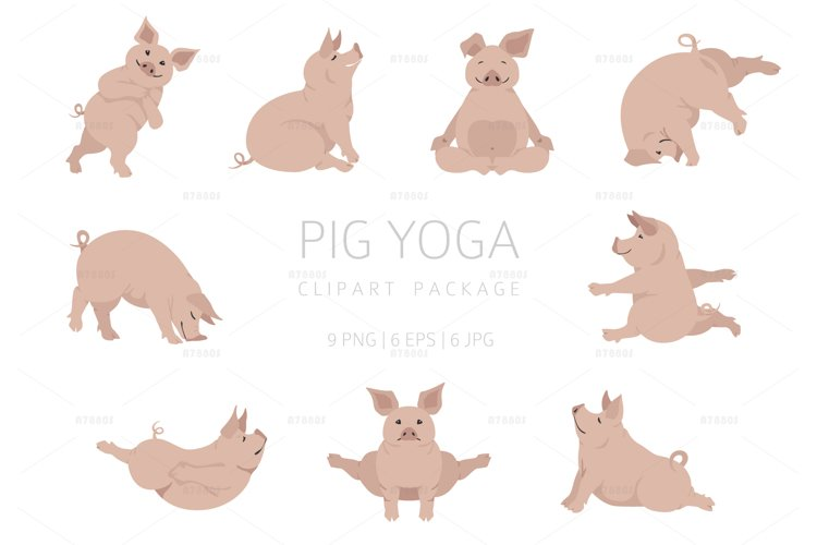 Pig yoga clipart, seamless patterns and posters