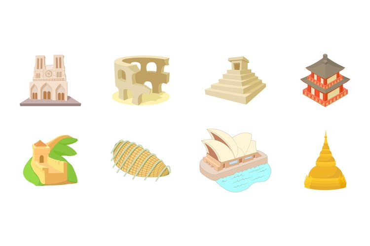 Hystorical building icon set, cartoon style example image 1