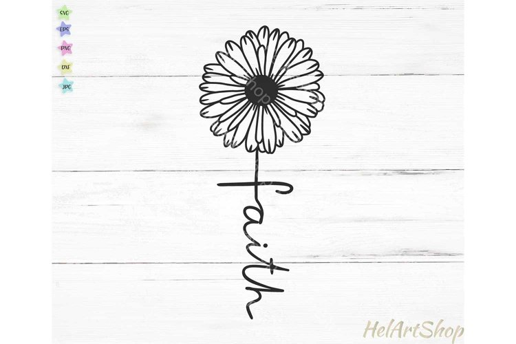 Faith Cross svg, Daisy svg, Christian svg example image 1