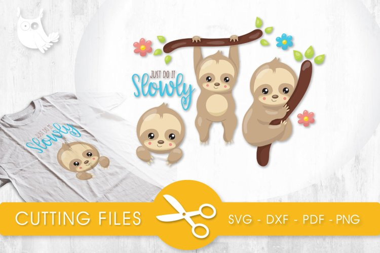 Slow Sloths cutting files svg, dxf, pdf, eps included - cut files for cricut and silhouette - Cutting Files SG example image 1
