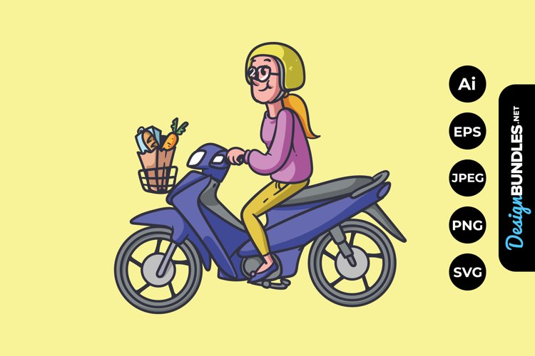 Woman Riding Motorcycle Illustrations
